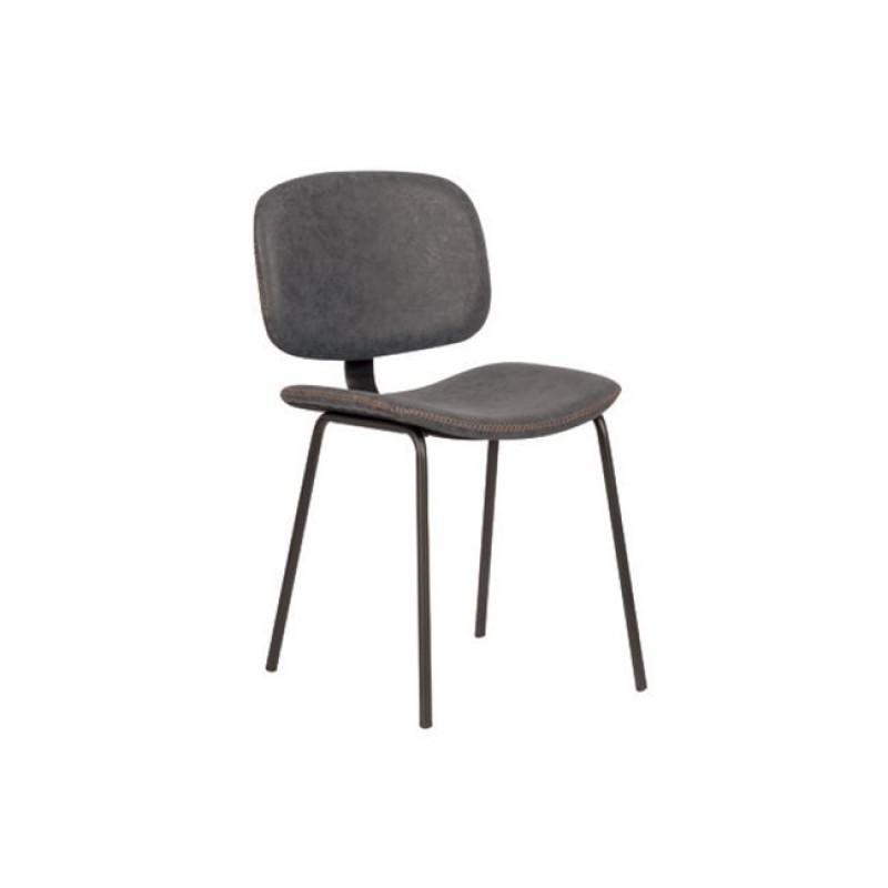 """Καρέκλα """"BARLEY"""" μεταλλική-pu σε vintage γκρι χρώμα 47x54x79"""