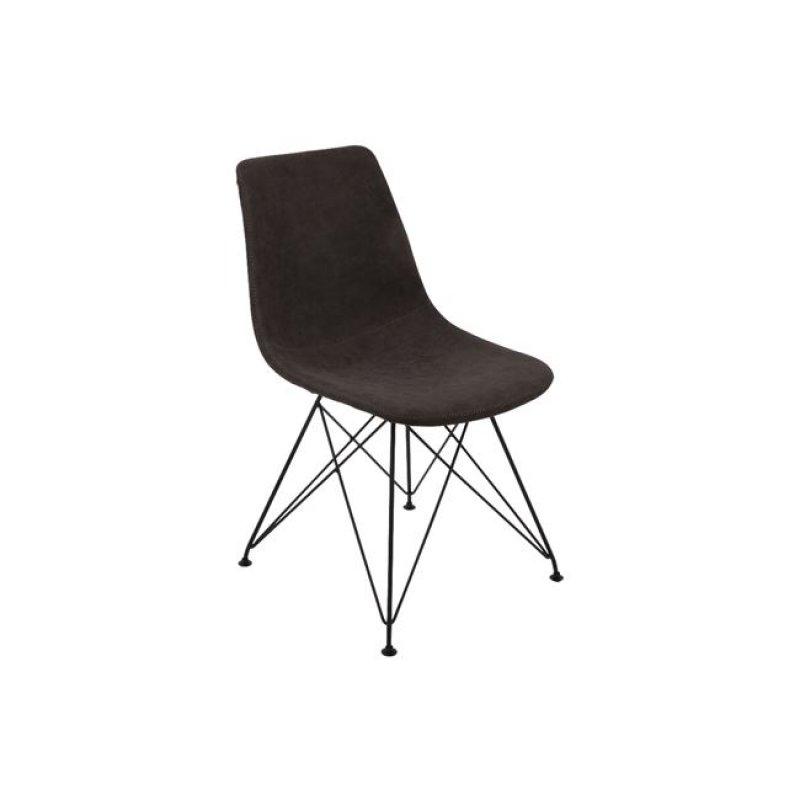 """Καρέκλα """"PANTON"""" μεταλλική-pu σε vintage μαύρο χρώμα 43x57x81"""