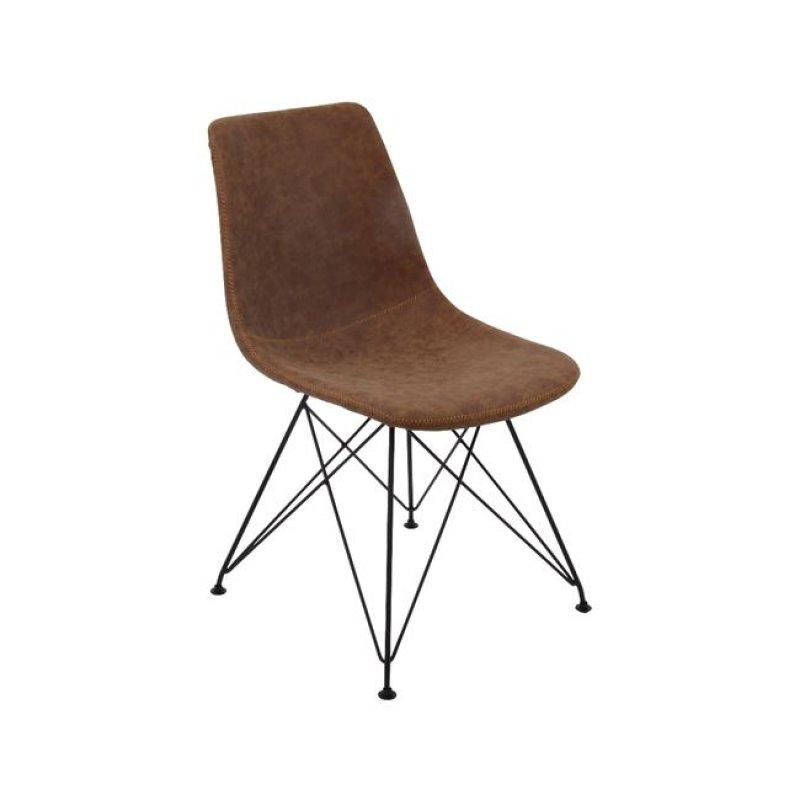 """Καρέκλα """"PANTON"""" μεταλλική-pu σε vintage καφέ χρώμα 43x57x81"""