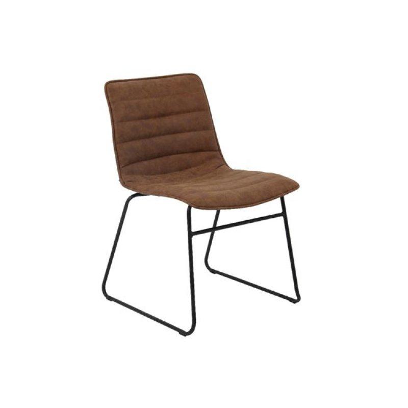 """Καρέκλα """"CONNEL"""" μεταλλική-pu σε χρώμα vintage καφέ 45x58x76"""