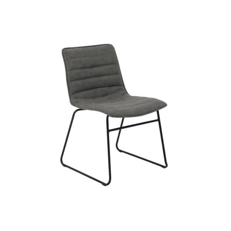 """Καρέκλα """"CONNEL"""" μεταλλική-pu σε χρώμα vintage γκρι 45x58x76"""