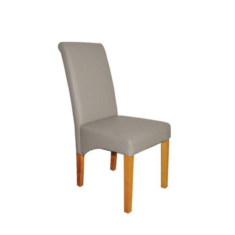 """Καρέκλα """"MALEVA-H"""" ξύλινη-pu σε χρώμα cappuccino 46x61x100"""