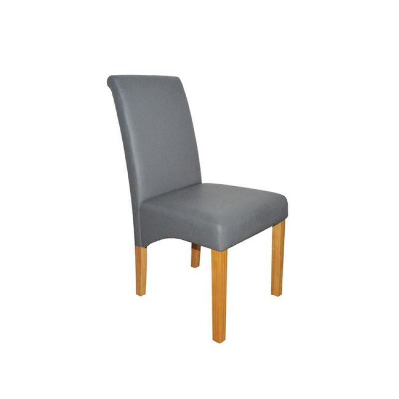 """Καρέκλα """"MALEVA-H"""" ξύλινη-pu σε χρώμα γκρι 46x61x100"""