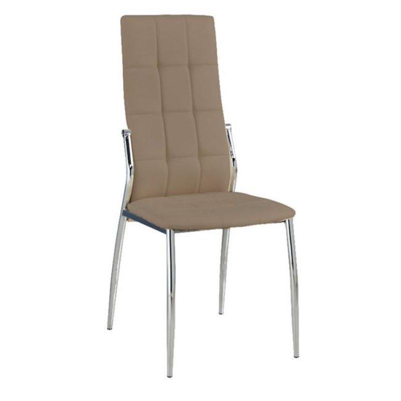 """Καρέκλα """"PRIMA K/D"""" χρωμίου-pvc σε χρώμα cappuccino 44x56x100"""