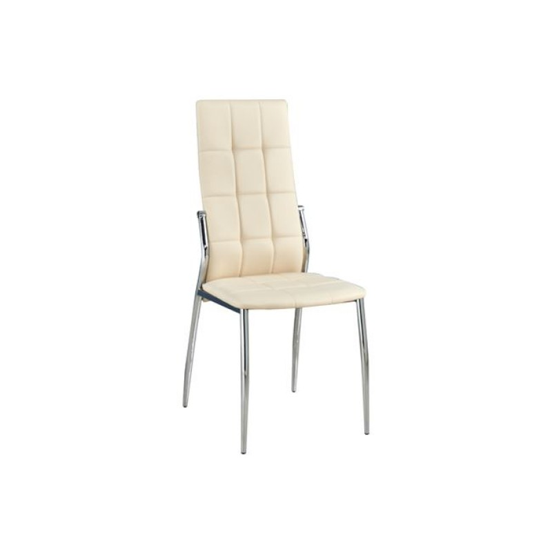 """Καρέκλα """"PRIMA K/D"""" χρωμίου-pvc σε χρώμα εκρού 44x56x100"""