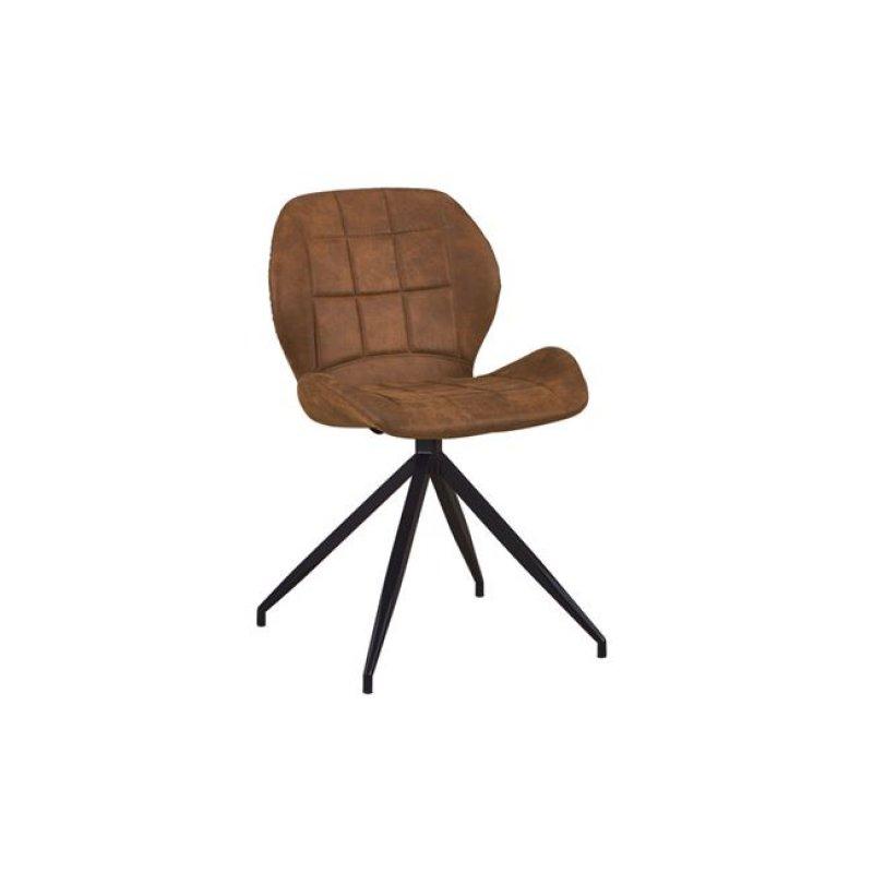 """Καρέκλα """"NORMA"""" μεταλλική-υφασμάτινη σουετ σε καφέ χρώμα 51x53x81"""