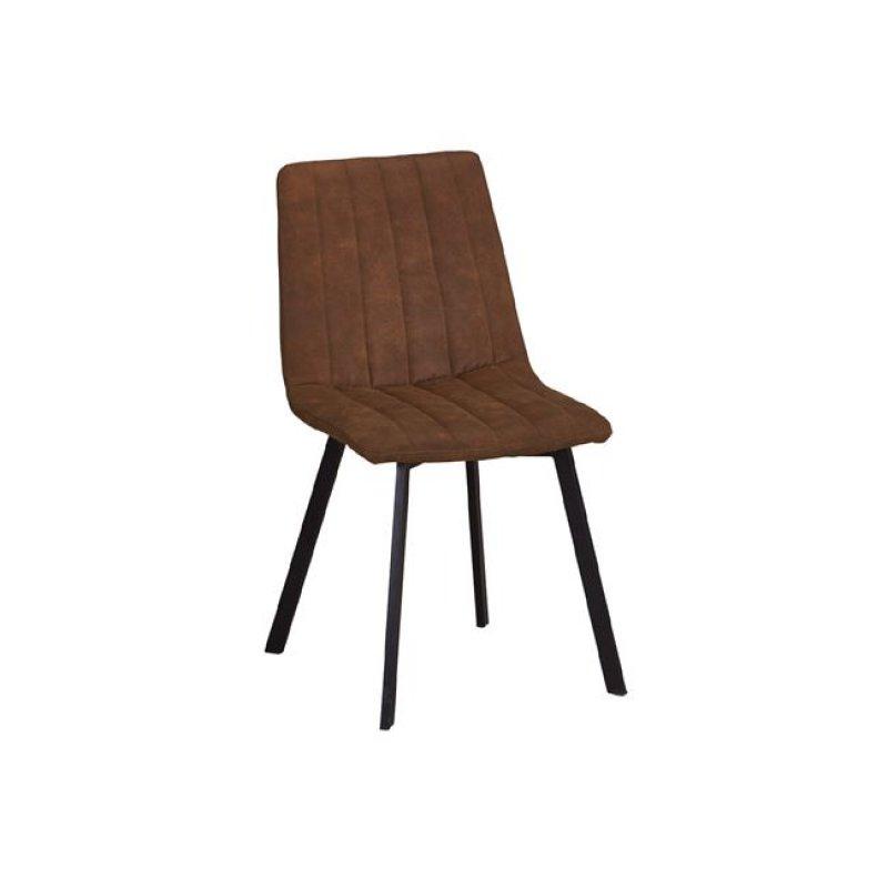 """Καρέκλα """"BETTY"""" μεταλλική-υφασμάτινη σουετ σε καφέ χρώμα 45x60x87"""