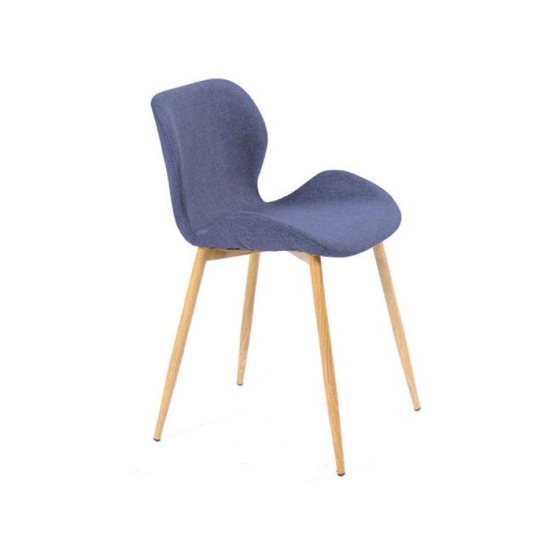 """Καρέκλα """"LILIAN"""" μεταλλική-υφασμάτινη σε φυσικό-μπλε χρώμα 46x48x75"""