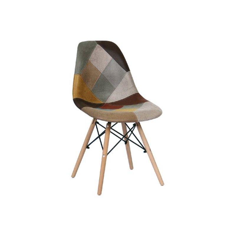 """Καρέκλα """"ART Wood"""" υφασμάτινη σε patchwork καφέ χρώμα 47x54x82"""