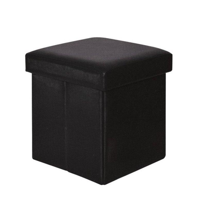 """Σκαμπώ βοηθητικό """"ORION"""" από τεχνόδερμα σε μαύρο χρώμα 38x38x38"""