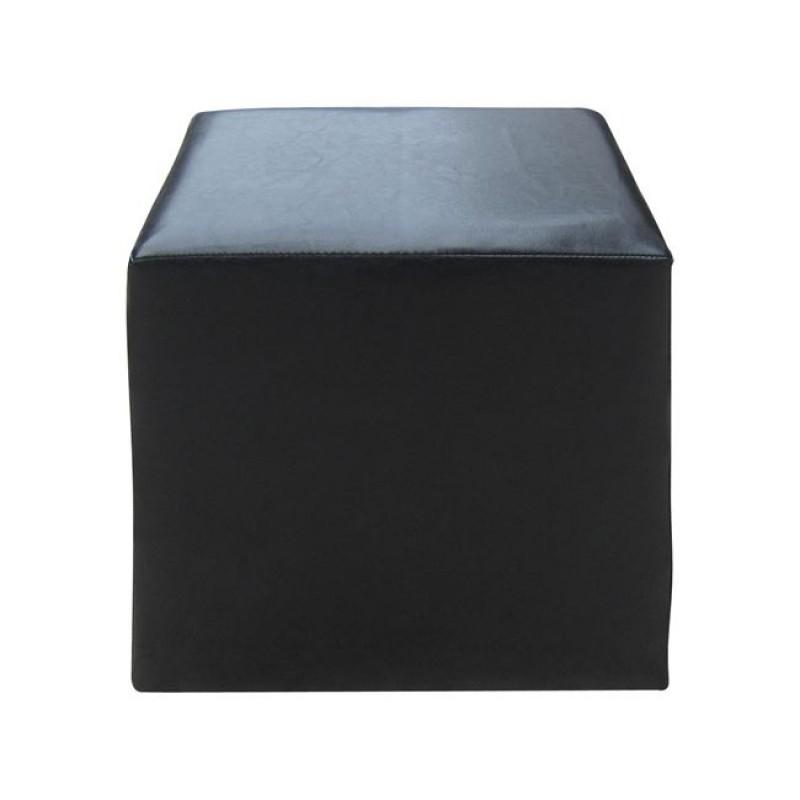 """Σκαμπώ βοηθητικό """"CLUB"""" από τεχνόδερμα σε μαύρο χρώμα 37x37x41"""