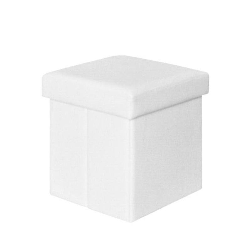 """Σκαμπώ βοηθητικό """"ORION"""" από τεχνόδερμα σε λευκό χρώμα 38x38x38"""