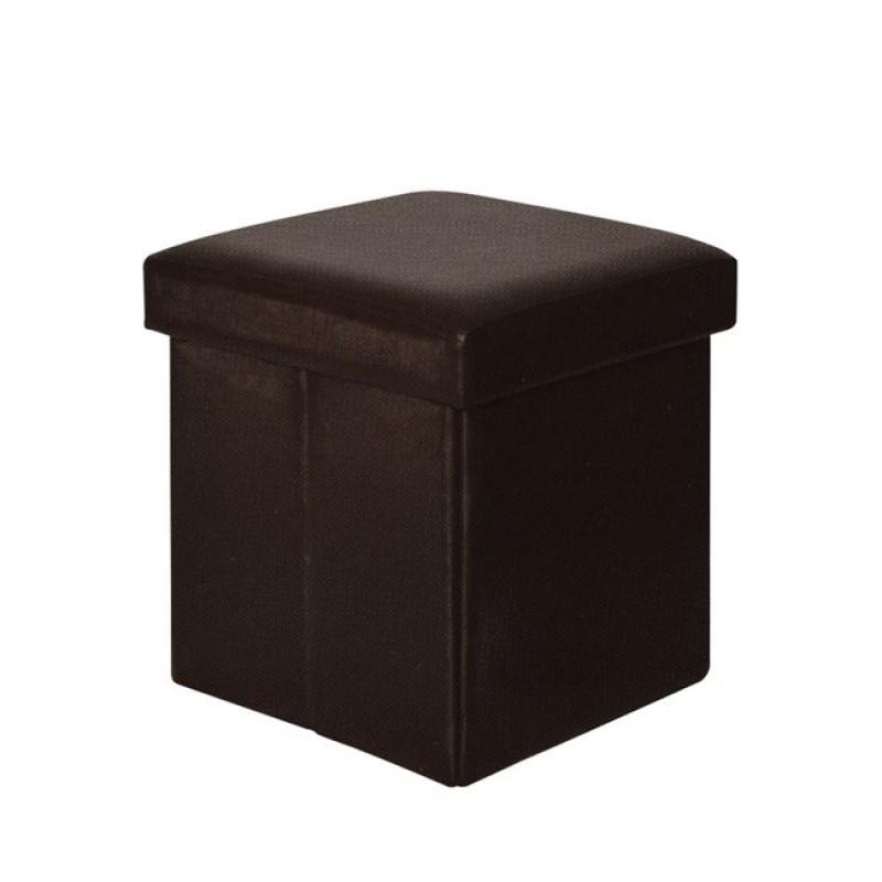 """Σκαμπώ βοηθητικό """"ORION"""" από τεχνόδερμα σε σκούρο καφέ χρώμα 38x38x38"""