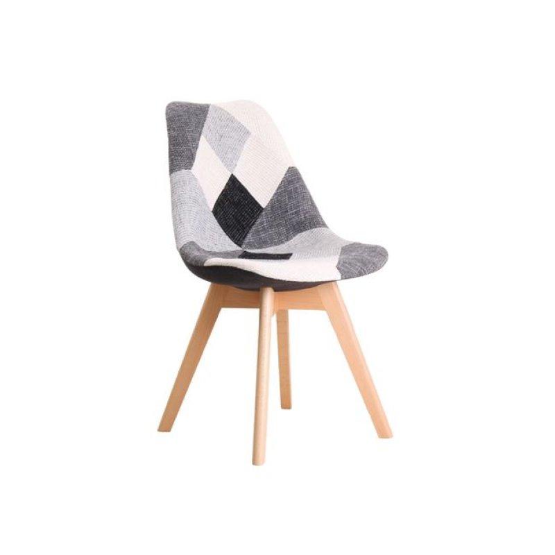 """Καρέκλα """"MARTIN"""" ξύλινη-υφασμάτινη σε patchwork λευκό-μαύρο χρώμα 52x49x82"""