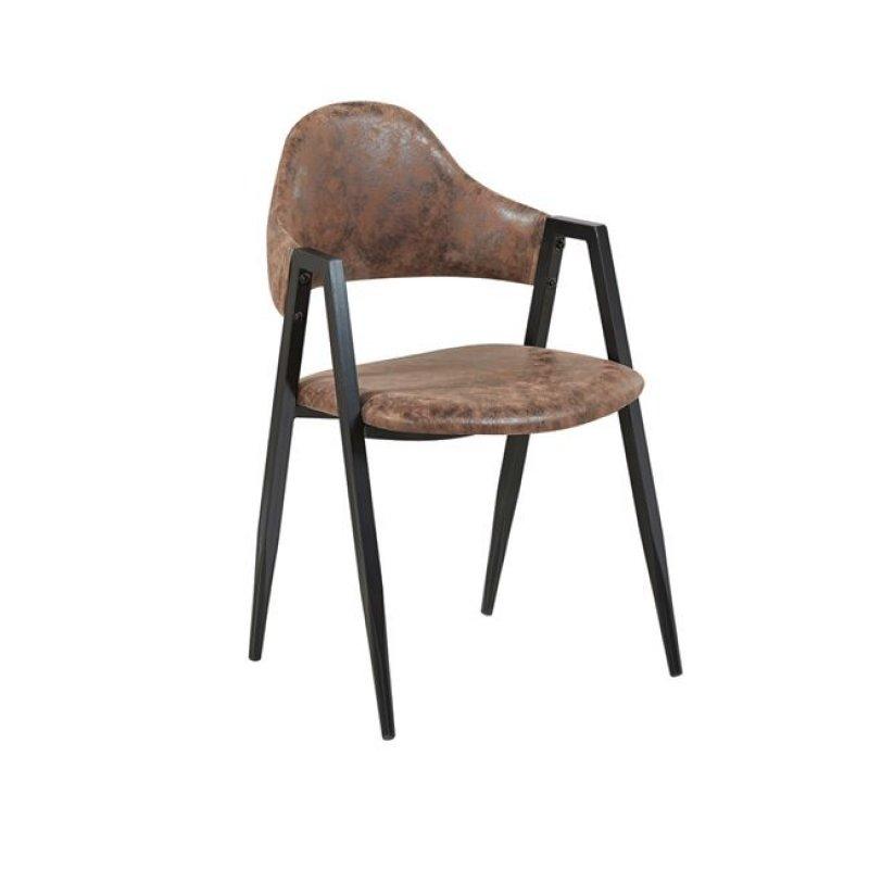 """Πολυθρόνα """"DELTA"""" μεταλλική-ύφασμα σουετ σε καφέ χρώμα 50x55x80"""