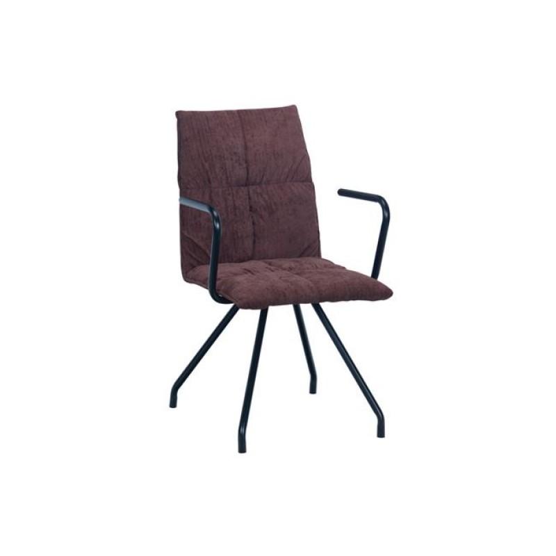 """Πολυθρόνα """"EXPO"""" μεταλλική-υφασμάτινη σε σκουρο καφέ χρώμα 53x64x88"""