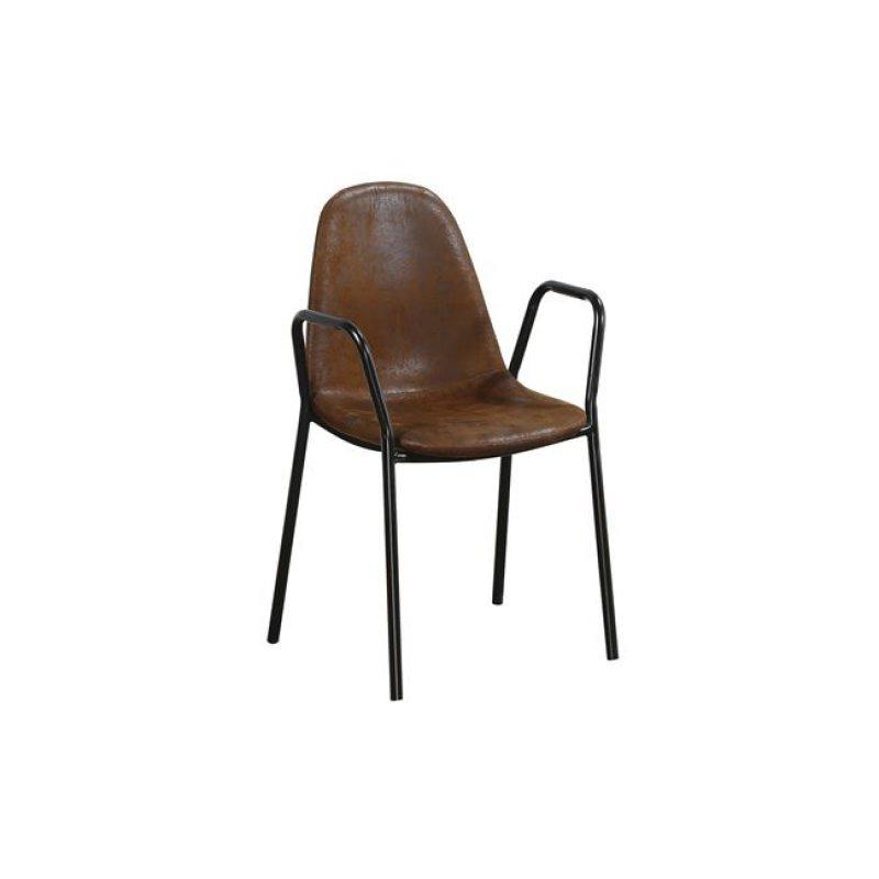 """Πολυθρόνα """"CELINA"""" μεταλλική-υφασμάτινη σε καφέ χρώμα 58x54x87"""