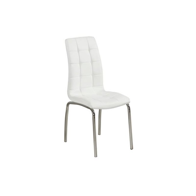 """Καρέκλα """"MELVA"""" χρωμίου-pu σε λευκό χρώμα 42x68x96"""