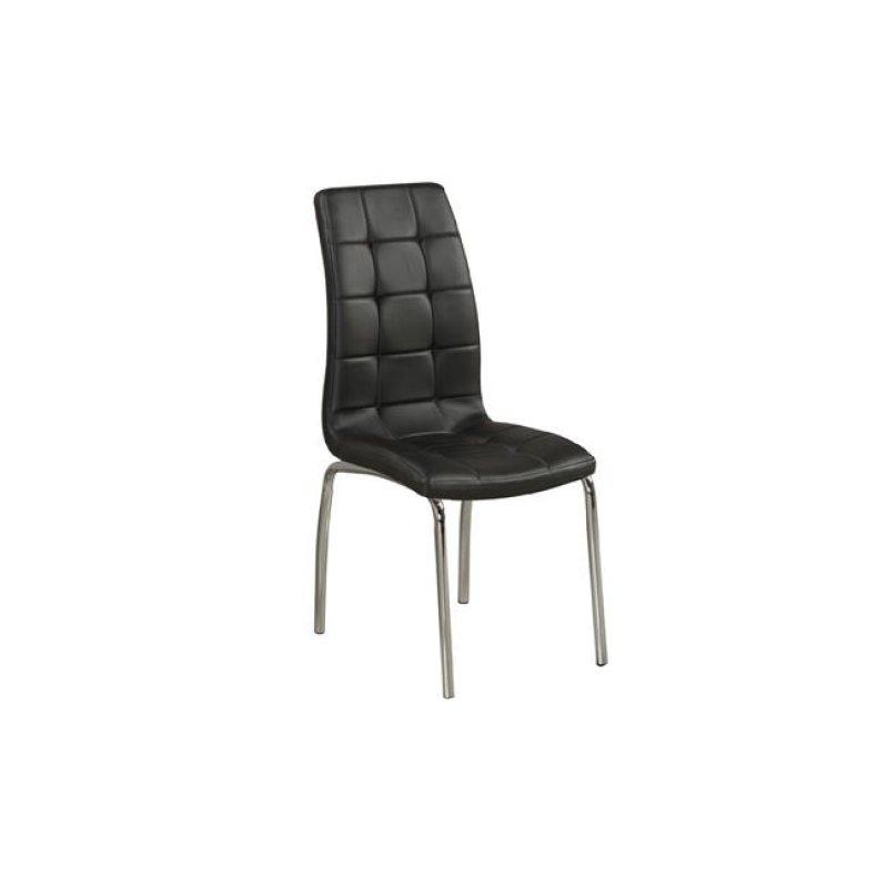 """Καρέκλα """"MELVA"""" χρωμίου-pu σε μαύρο χρώμα 42x68x96"""
