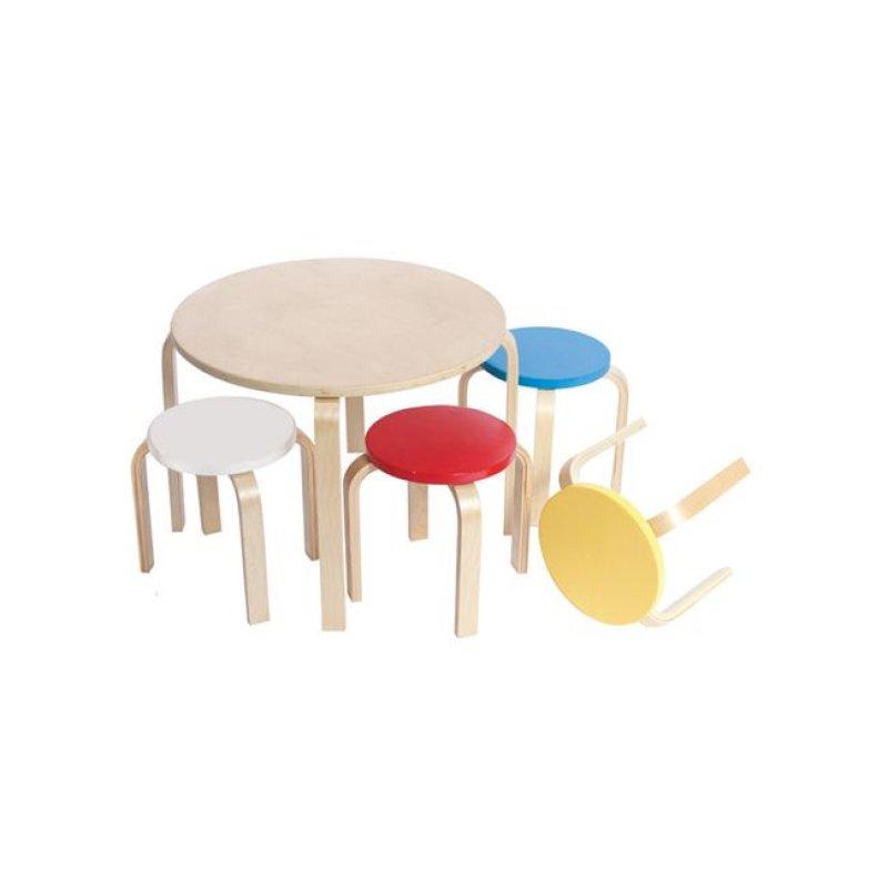 """Παιδικό τραπέζι με σκαμπώ """"KID-FUN"""" σετ 5τμχ πολύχρωμο 60x45"""