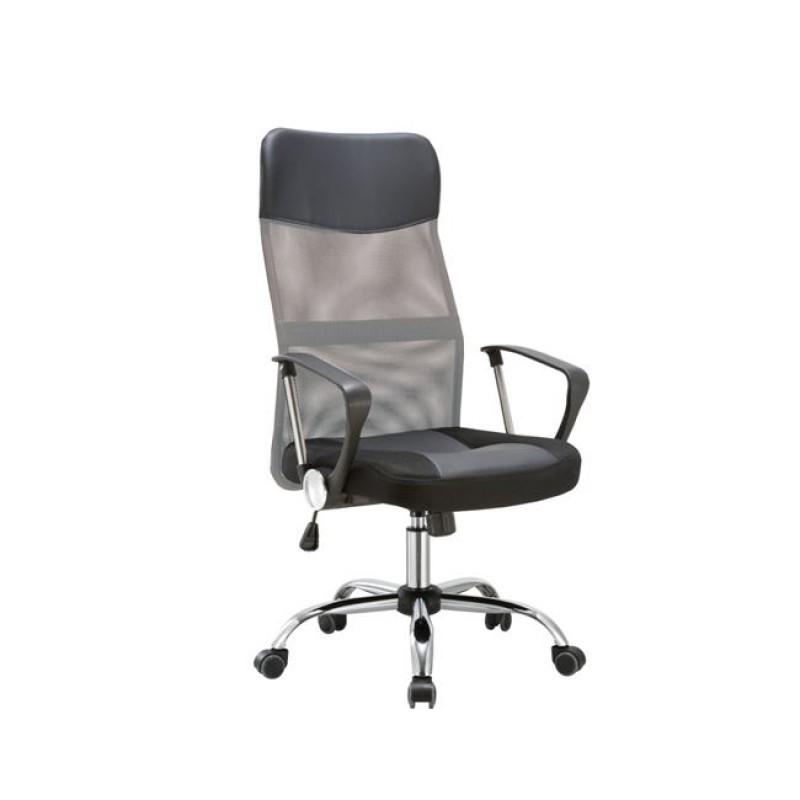 Πολυθρόνα διευθυντή από mesh και τεχνόδερμα σε γκρι-μαύρο χρώμα 61x68x108/118