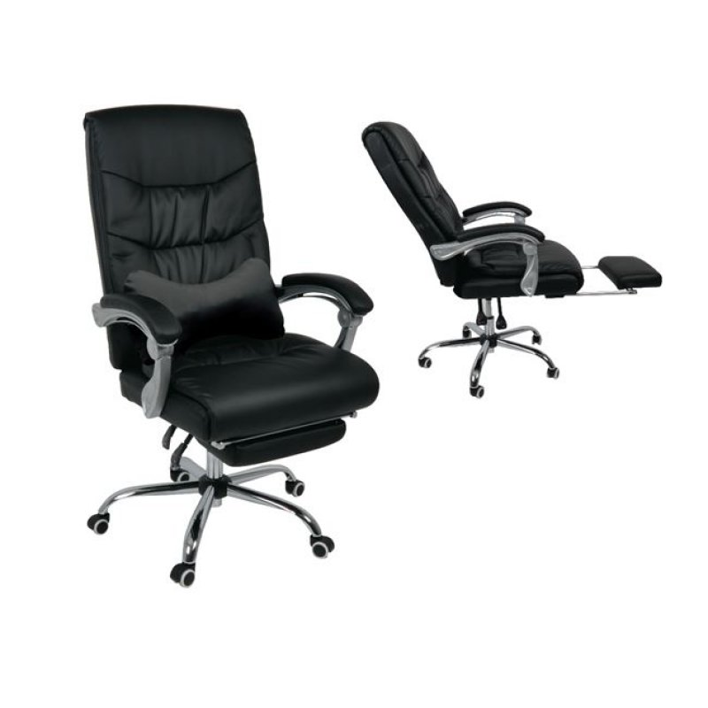 """Πολυθρόνα διευθυντή """"RELAX"""" από τεχνόδερμα σε μαύρο χρώμα 65x78x112/120"""