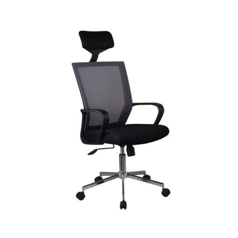 Πολυθρόνα γραφείου διευθυντή από mesh ύφασμα σε μαύρο χρώμα 58x55x110/117