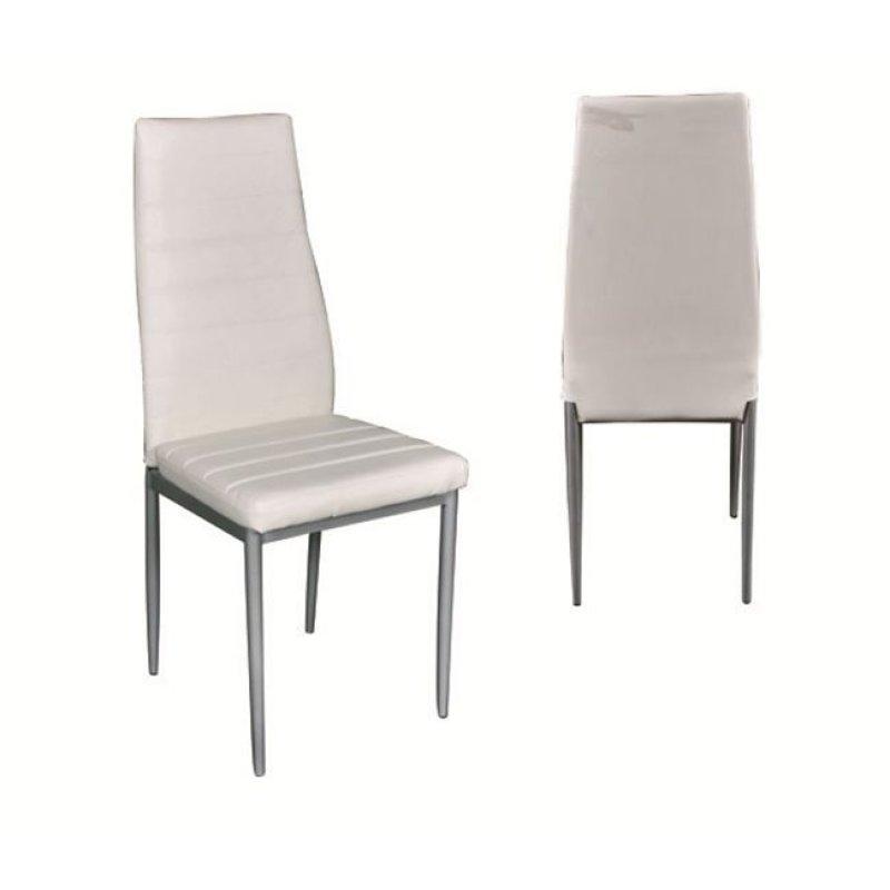 """Καρέκλα """"JETTA"""" μεταλλική-pvc σε χρώμα γκρι-εκρού 40x49x95"""