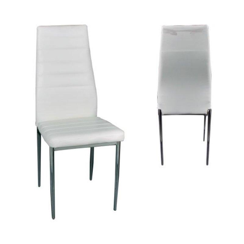 """Καρέκλα """"JETTA"""" χρωμίου-pvc σε χρώμα λευκό 40x49x95"""