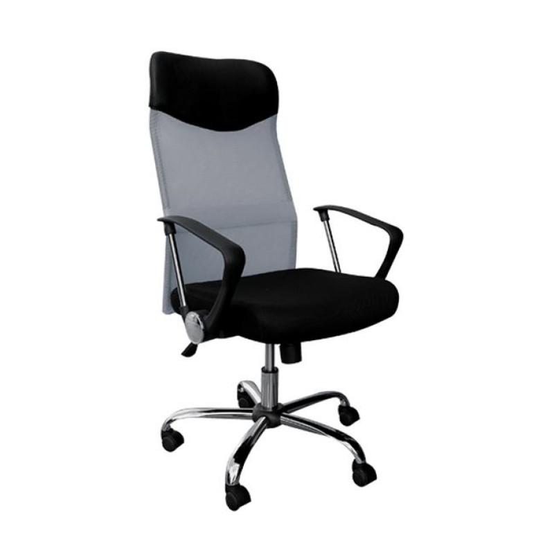Πολυθρόνα γραφείου διευθυντή από ύφασμα mesh και τεχνόδερμα σε μαύρο-γκρι χρώμα 61x63x110/120