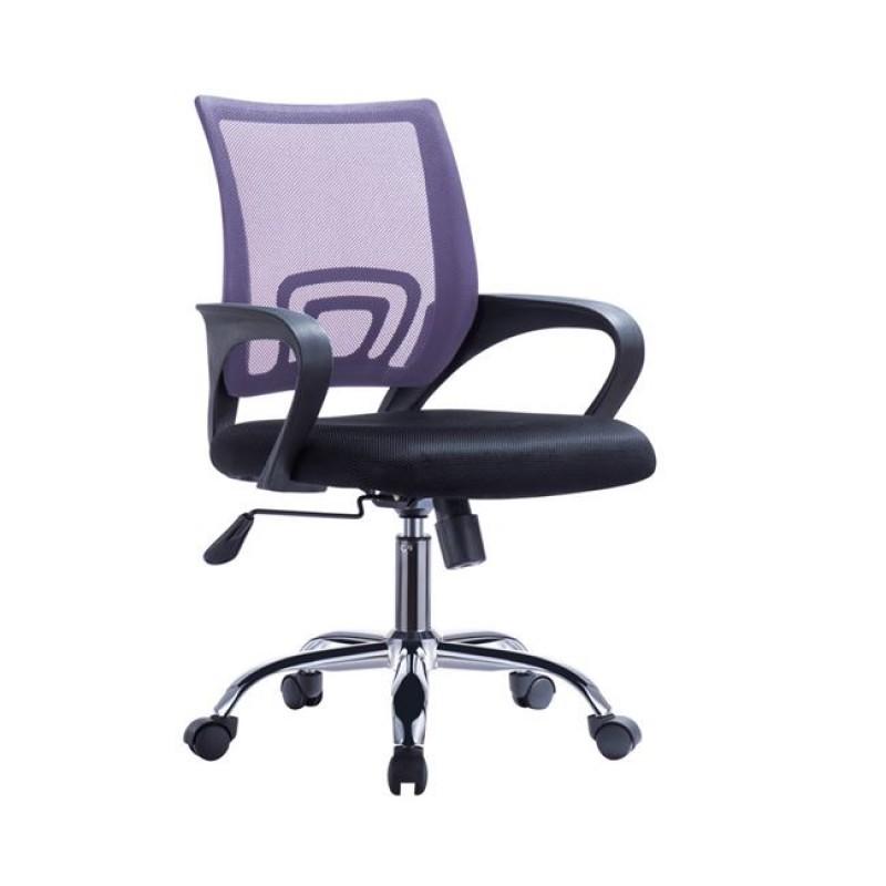 Πολυθρόνα εργασίας από ύφασμα mesh σε μωβ-μαύρο χρώμα 55x62x89/101