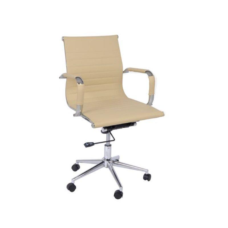 Πολυθρόνα εργασίας χαμηλή πλάτη από τεχνόδερμα σε εκρού χρώμα 54x59x95/105