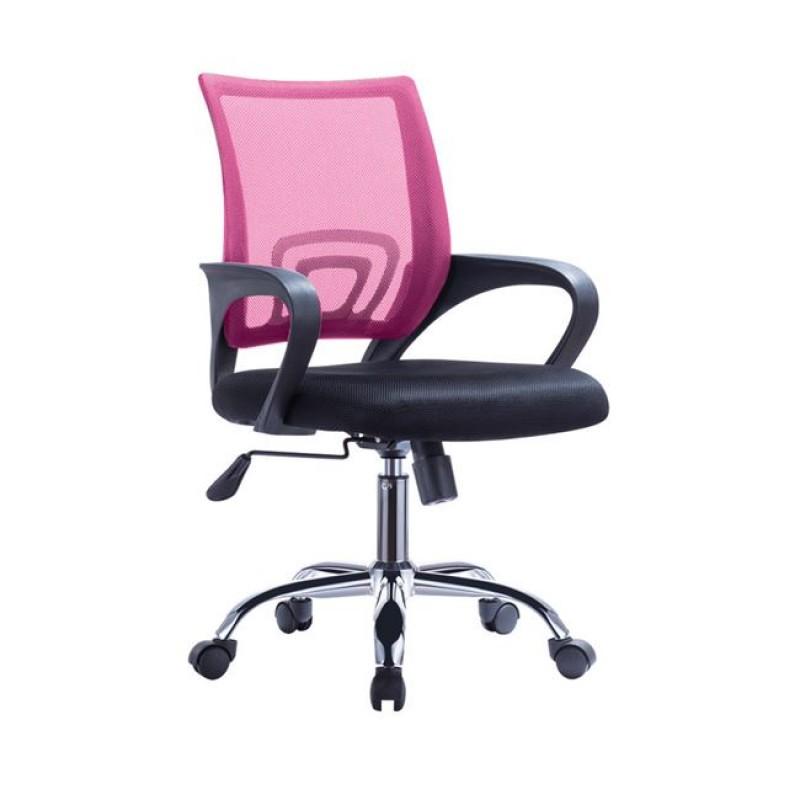Πολυθρόνα εργασίας από ύφασμα mesh σε ροζ-μαύρο χρώμα 55x62x89/101