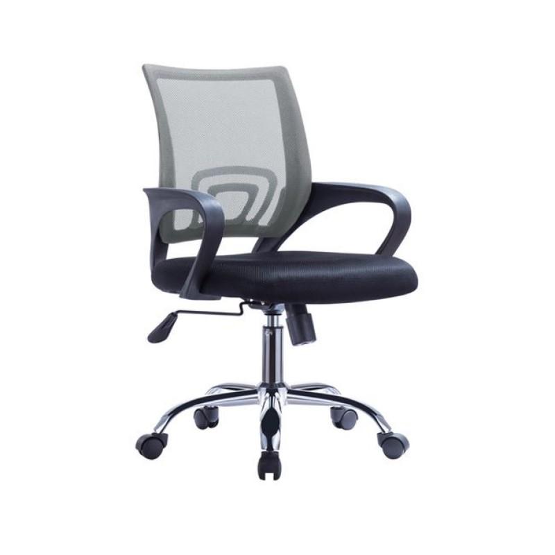 Πολυθρόνα εργασίας από ύφασμα mesh σε χρώμα γκρι-μαύρο 55x62x89/101