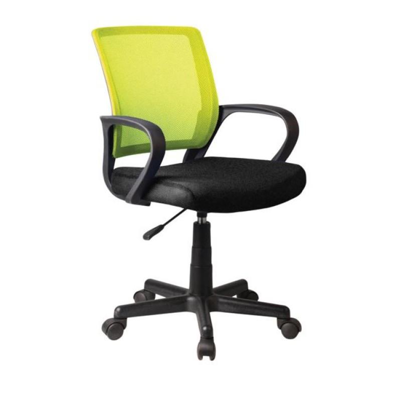 Πολυθρόνα εργασίας από ύφασμα mesh σε λαχανί-μαύρο χρώμα 53x56x82/92