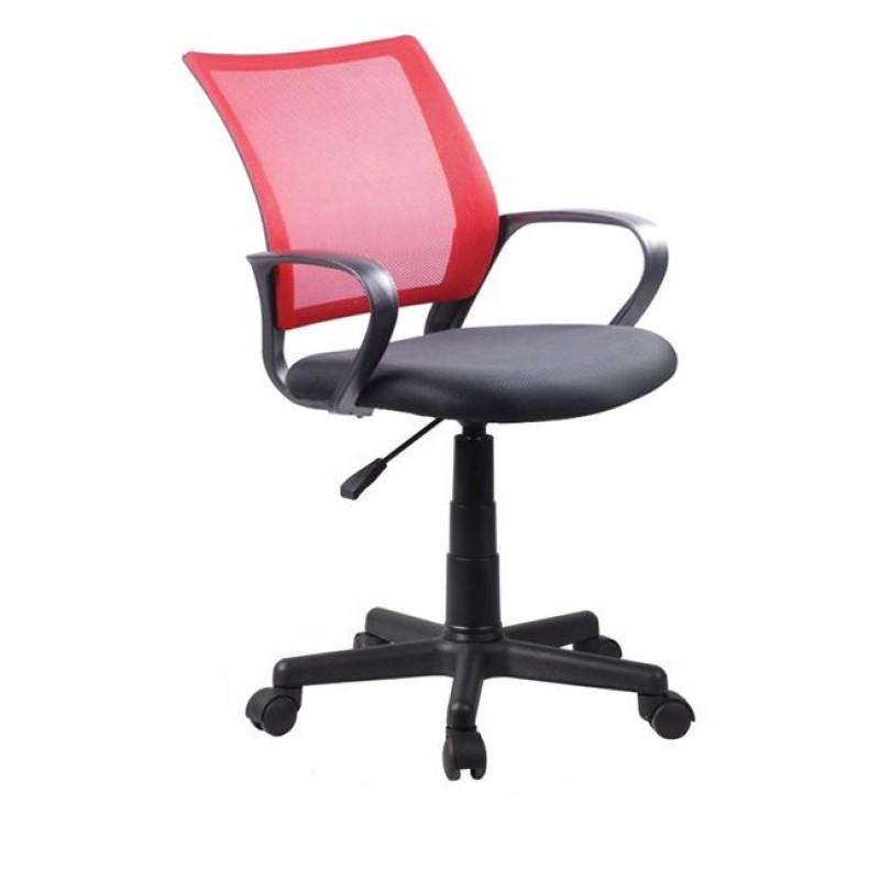 Πολυθρόνα εργασίας από ύφασμα mesh σε κόκκινο-μαύρο χρώμα 53x56x82/92