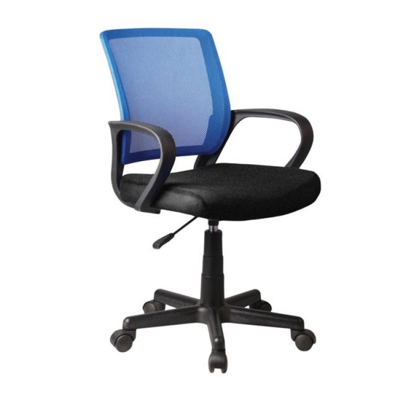 Πολυθρόνα εργασίας από ύφασμα mesh σε μπλε-μαύρο χρώμα 52x56x82/92