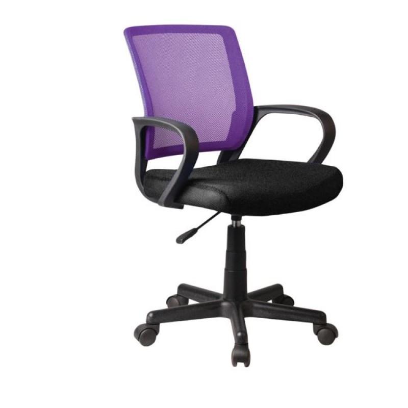 Πολυθρόνα εργασίας από ύφασμα mesh σε μωβ-μαύρο χρώμα 53x56x82/92