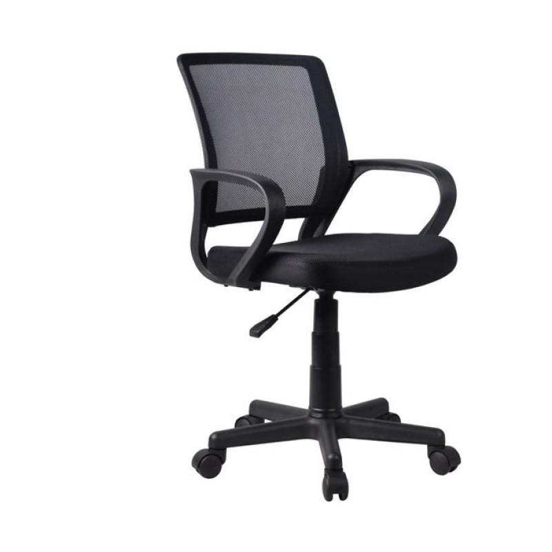 Πολυθρόνα εργασίας από ύφασμα mesh σε μαύρο χρώμα 53x56x82/92