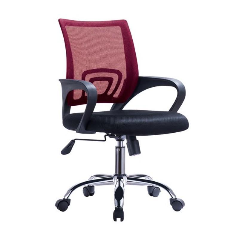 Πολυθρόνα εργάσιας από ύφασμα mesh σε χρώμα κόκκινο-μαύρο 55x62x89/101