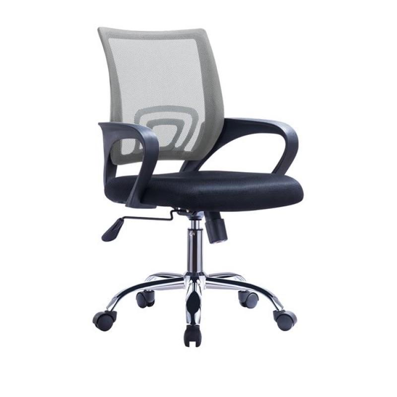 Πολυθρόνα εργασίας από ύφασμα mesh σε χρώμα γκρι-μαύρο χρώμα 55x62x89/101
