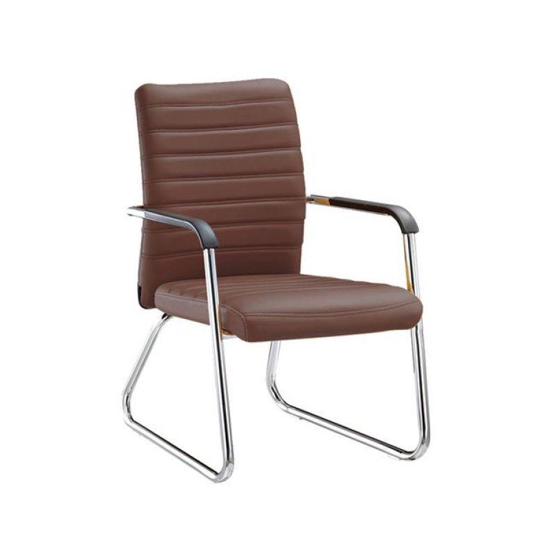 """Πολυθρόνα επισκέπτη """"COLLET"""" χρωμίου από τεχνόδερμα σε καφέ χρώμα 55x64x95"""