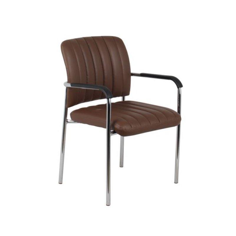 """Πολυθρόνα επισκέπτη """"DENIM"""" χρωμίου από τεχνόδερμα σε καφέ χρώμα 57x58x80"""