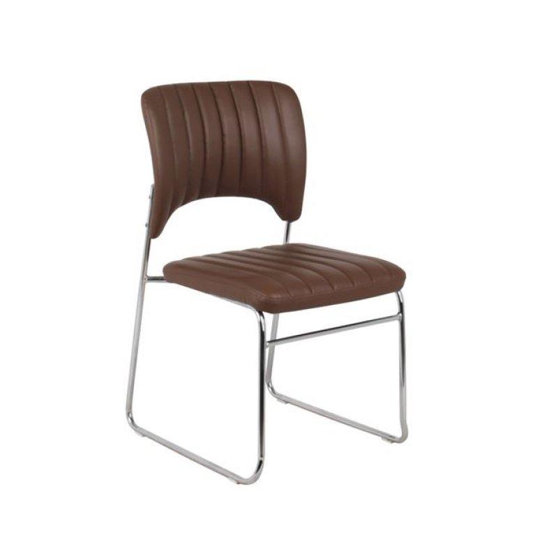 """Καρέκλα επισκέπτη """"VENUS"""" χρωμίου από τεχνόδερμα σε καφέ χρώμα 50x56x84"""