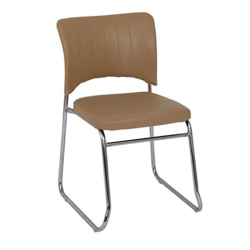"""Καρέκλα επισκέπτη """"VENUS"""" χρωμίου από τεχνόδερμα σε εκρού χρώμα 50x56x84"""