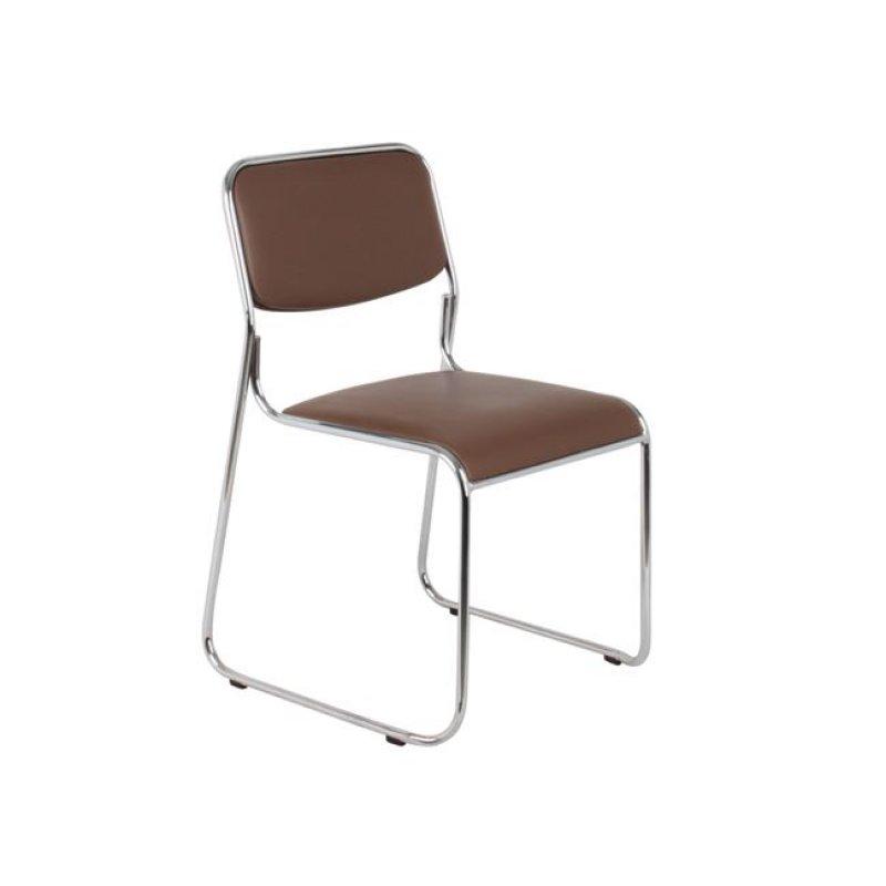 """Καρέκλα επισκέπτη """"CAMPUS"""" χρωμίου από τεχνόδερμα σε καφέ χρώμα 51x52x78"""