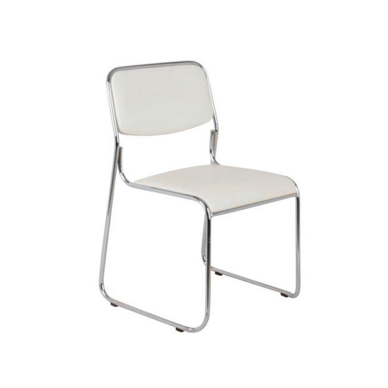 """Καρέκλα επισκέπτη """"CAMPUS"""" χρωμίου από τεχνόδερμα σε εκρού χρώμα 51x52x78"""