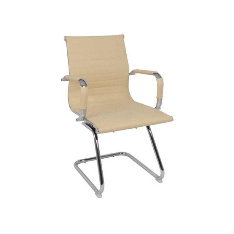 Πολυθρόνα επισκέπτη από τεχνόδερμα σε εκρού χρώμα 54x59x95