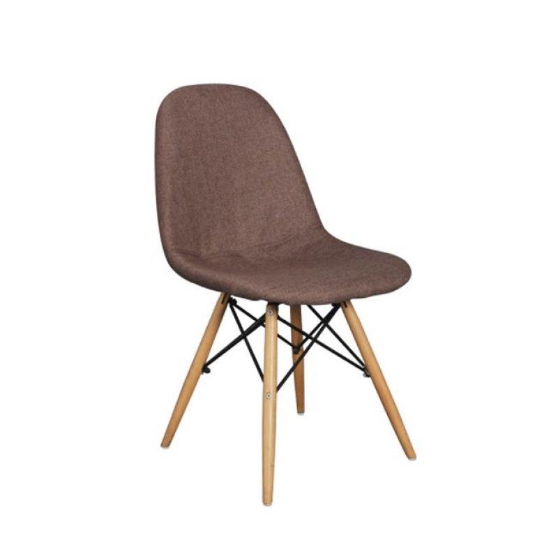 """Καρέκλα """"ART Wood"""" ξύλινη-υφασμάτινη σε καφέ χρώμα 44x54x83"""