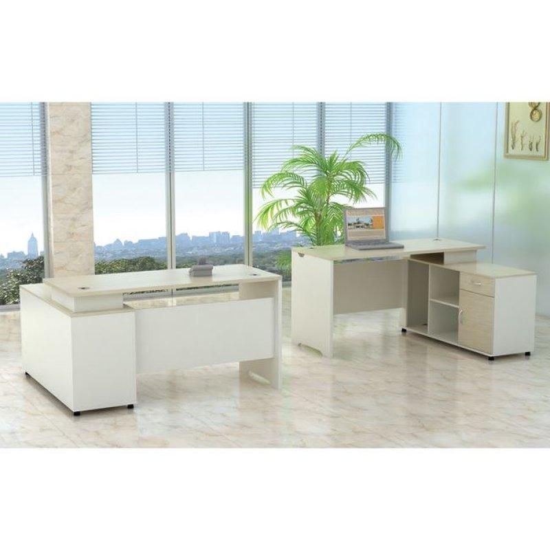 """Γραφείο """"PLANET"""" δεξιά γωνία σε χρώμα σημύδα-λευκό 160x120x75"""